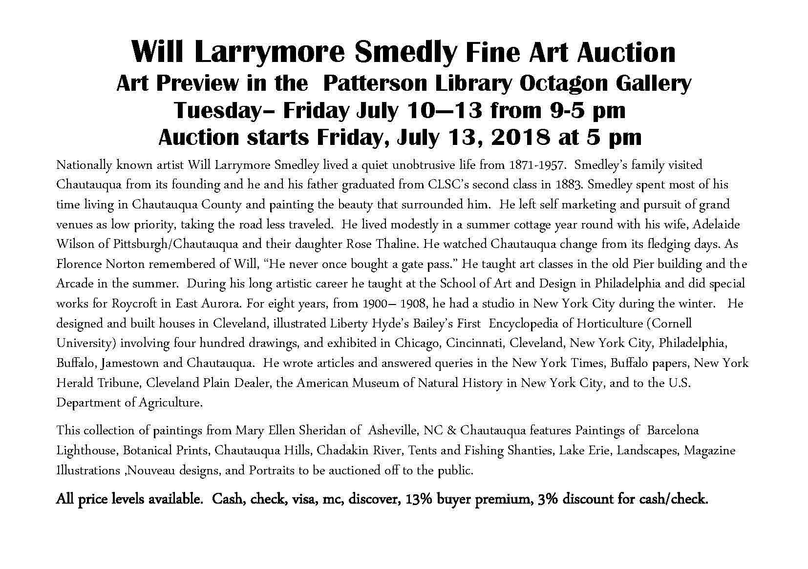 Will Larrymore Smedley Art Auction