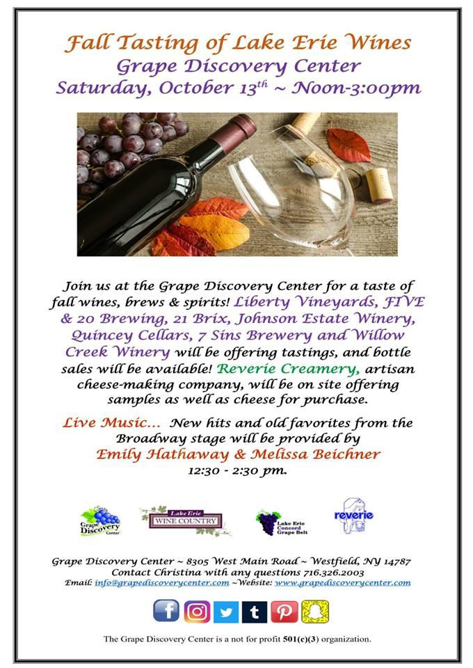 Fall Tasting of Lake Erie Wines at Grape Discovery Center