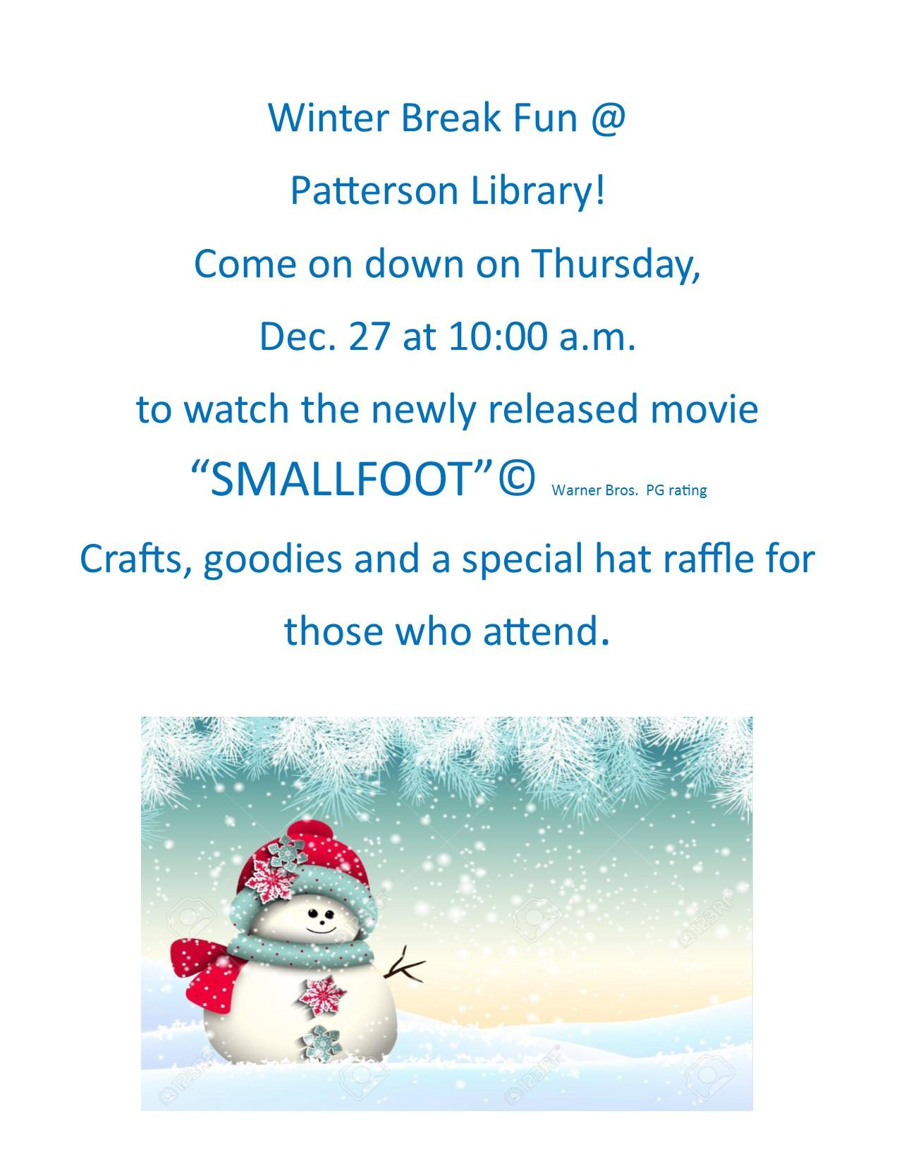 Patterson Library's Winter Break Fun!