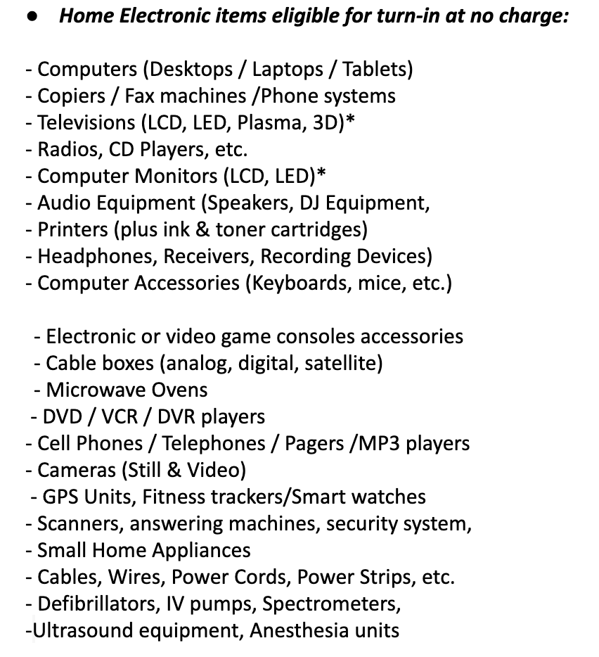 E-waste Acceptable Items
