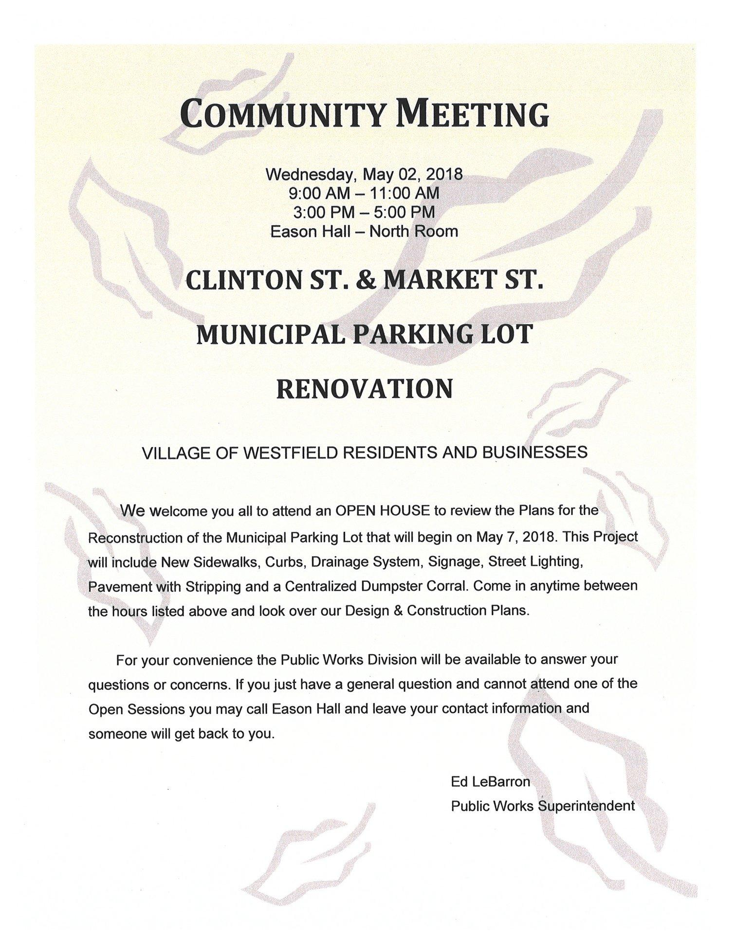 Municipal Parking Lot Renovation Community Meeting