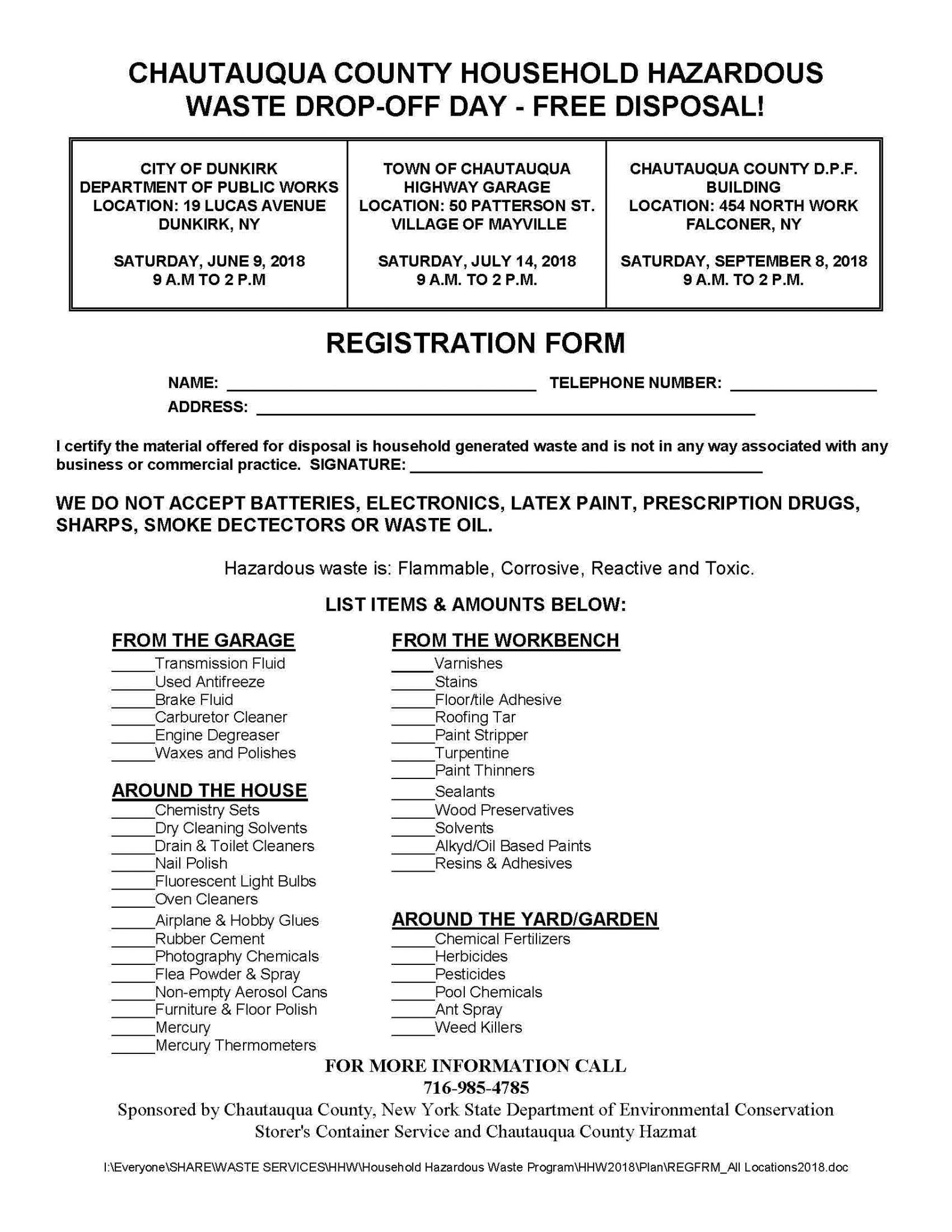 Chautauqua County Household Hazardous Waste Drop-Off Day