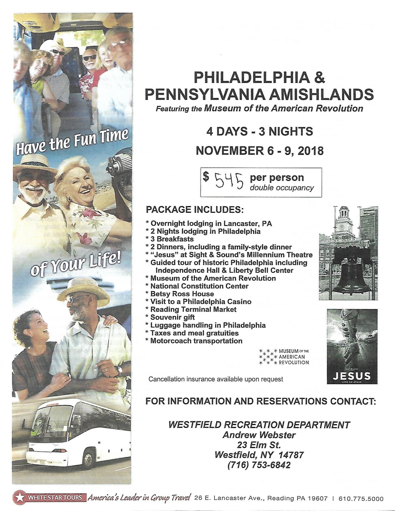 Bus Trip to Philadelphia & Pennsylvania Amishlands Flyer