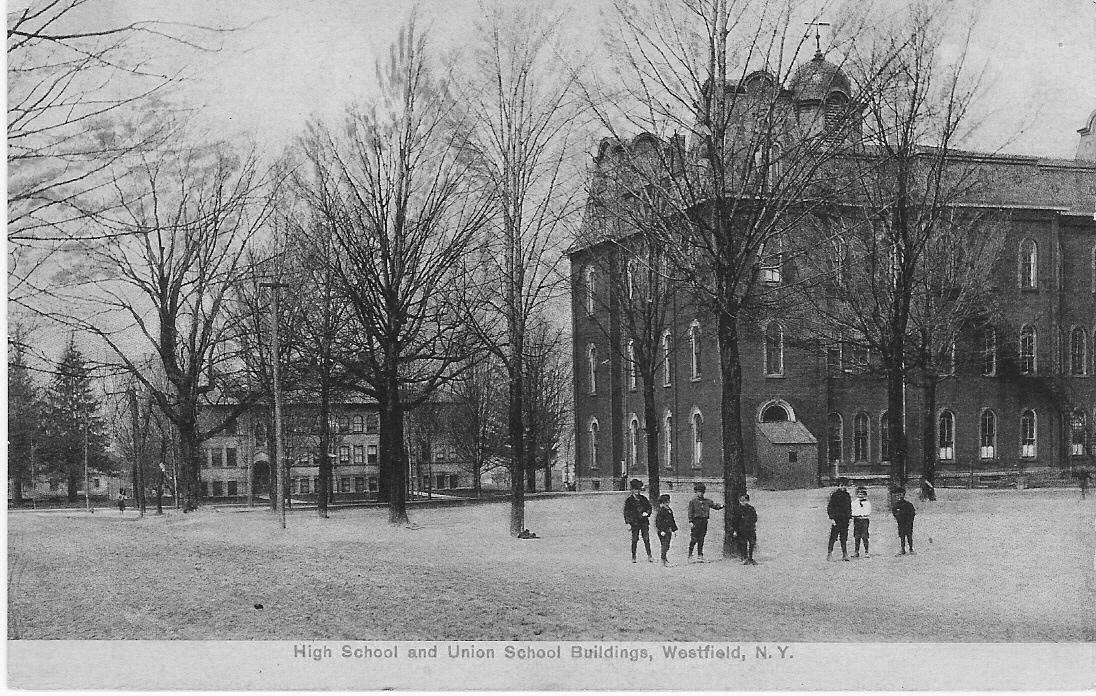 1867 Union School (cupola on top) and 1902 High School in background (before Jr. High wing added in 1920s)