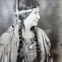 Photo from the Patterson Library Archives of Mabel Powers dressed in her Indian garb that she wore when she told Indian stories and sang songs at her Indian Fire Circle at Wahmeda on Chautauqua Lake