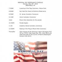 Memorial Day Observance Schedule