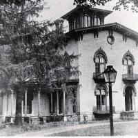 Knowlton Mansion, aka Holt House, circa 1898, that was located on the north side of East Main Street between Pearl and Holt streets, where Top's is currently (2018) located. This home, built in 1855, has been identified as a station on the Underground Railroad in Westfield. Photo courtesy Patterson Library Archives